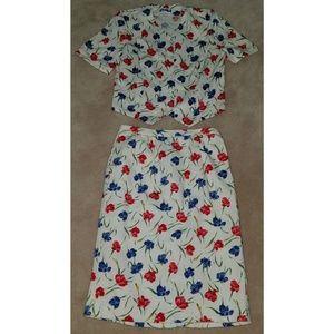 Pendleton Plus Floral Skirt Suit Jacket 14W Cotton